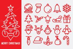 Check out Christmas Line Icons by pixaroma on Creative Market