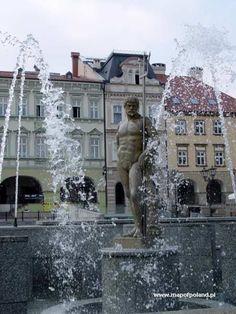 Neptune Fountain in the Old Town Square in Bielsko-Biala, Poland