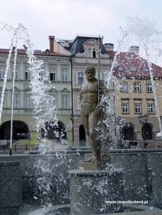 Neptune Fountain in the Old Town Square in Bielsko-Biala, Poland