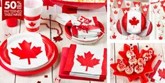Canada themed party supplies, everything I need for that Canada themed birthday party, except the bacon and maple syrup. Canada Day Party, Kids Party Themes, Birthday Party Themes, Party Ideas, Canadian Party, American Themed Party, Canada Day Crafts, Leaving Party, Bon Voyage Party