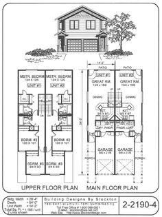Traditional style duplex building designs by stockton 4 plex plans narrow lot