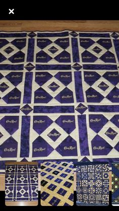 Stained glass batik quilts ideas 23 from 28 Amazing Stained Glass Batik Quilts Ideas Crown Royal Quilt, Crown Royal Bags, Quilting Projects, Quilting Designs, Quilting Ideas, Sewing Projects, Crown Royal Drinks, Royal Pattern, Sports Quilts