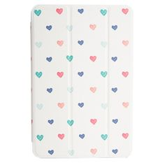 Trifold Case for iPad mini with Watercolor Heart Design