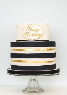 Black and Gold Celebration Cake by Rosalind MillerCakes - London