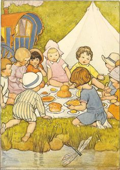1930's Children's Print By SB Pearse Group Of Children Having Picnic By River  Dragonfly Tent Caravan Vintage Book Illustration
