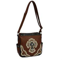 Handbag Crossbody messenger Bag Western Cross Rhinestone Bull Cowgirl brown tote #Ssfashion #MessengerCrossBody