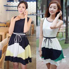 US$ 8.00 Korea Women Spliced Color Zip Back Sleeveless Belted Ribbon Slim Dress