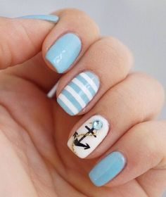 26 Cute Anchor Nail Art Designs Perfect for This Summer - Nails 💅 Anchor Nail Designs, Anchor Nail Art, Cute Nail Designs, Nautical Nail Designs, Beach Nail Designs, Nails With Anchor Design, Stripe Nail Designs, Nail Designs Spring, Fancy Nails