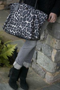leopard Coach tote, grey jeans, black boots