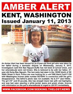 ▬►an AMBER ALERT has been issued for an Kent, WA child missing since She is believed to be with her father after a domestic dispute. Missing Loved Ones, Missing Child, Losing A Child, Missing Persons, Kent Washington, Amber Alert, Bring Them Home, Picture Sharing, French Lavender
