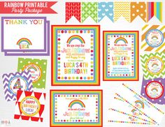 Rainbow Birthday Party Package YOU PRINT Girl Rainbow Party Decorations  This is an example of what we can do, if you want to add/subtract items