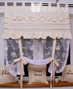 Firana roletka z bawełny i tiulu curtain, rideaux, curtains shabby chic Cortinas Shabby Chic, Rideaux Shabby Chic, Kitchen Cabinets On A Budget, Shabby Chic Kitchen Cabinets, Tie Up Curtains, Curtains With Blinds, Farmhouse Wall Decor, Curtain Designs, Cozy House