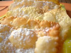 :: TYPICAL RECIPES OF #SIENA :: Crogetti - Traditional Sweets of Carnival   Ingredients:  an egg  A tablespoon of olive oil  A spoonful of sugar  Flour, than they take   procedure:  Mix well all the ingredients and knead the dough down. Roll out the dough with the machine or with a rolling pin so thin, cut into small diamonds and rectangles and fry in plenty of hot olive oil. Drain on absorbent paper, place them in a tray and sprinkle with icing sugar.