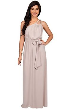 KOH KOH Womens Long Bridesmaids One Shoulder Ball Gown Elegant Cocktail Party Mother of the Groom Evening Summer Dresses Maxi Dress, Color Light Brown, Size Medium M 8-10. Bust/Chest: (XS) Up to 32.5 inches (S) 32.5-35 inches (M) 35.5-37.5 inches (L) 38-40 inches (XL) 40.5-43 inches (2X) 43.5-47 inches (3X) 48-51.5 inches (4X) 52-55.5 inches. Total length for maxi dresses is approximately 57 inches / 145 cm. Size+: Light Brown Plus Size Maxi Dresses, Plus Size Gowns, Plus Size Dresses, Plus…