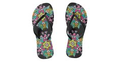 Terrific flip flops printed with a colorful doodle art motif composed by crazy hungry monsters Monster Go, Going Crazy, Doodle Art, Color Patterns, Pattern Design, Flip Flops, Doodles, Colorful, Printed