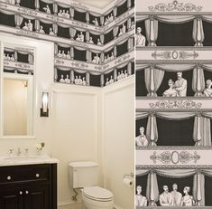 papier peint TEATRO cole and son pour les wc? Fornasetti Wallpaper, Bathroom Wallpaper, Print Wallpaper, Deco Luminaire, Cole And Son Wallpaper, Powder Room Design, Downstairs Toilet, Scale Design, Vintage Bathrooms