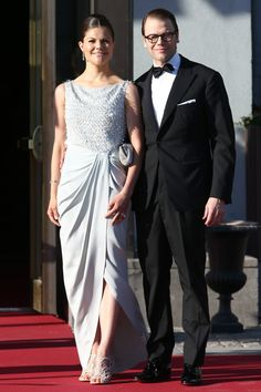 """Crown Princess Victoria of Sweden and Prince Daniel arrive at Grand Hotel, Stockholm for the pre-wedding party on June 7th; wedding of Princess Madeleine of Sweden and mr. Christopher """"Chris"""" O'Neill, June 8th 2013"""