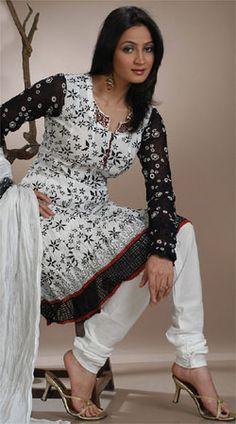 Black white Printed #salwar kameez