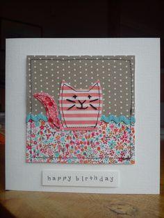Handmade machine sewn & embroidered cat birthday card made with fabrics including Liberty& Moda & ribbon 40th Birthday Cards, Handmade Birthday Cards, Cat Birthday, Birthday Wishes, Fabric Cards, Fabric Postcards, Embroidery Cards, Free Motion Embroidery, Freehand Machine Embroidery