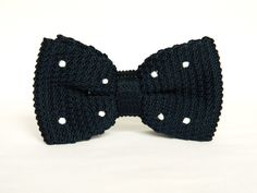 Men's Black White Polka Dot knitted Bowtie by TheStyleHubTrends