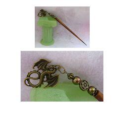 Burnished Gold Celtic Dragon Charm Beaded Wooden Hair Stick  http://cgi.ebay.com/ws/eBayISAPI.dll?ViewItem=150946847599