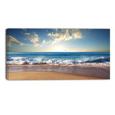 Design Art Sea Sunset Seascape Photographic Print on Wrapped Canvas Acrylic Painting Canvas, Canvas Artwork, Painting Prints, Painting Abstract, Wall Prints, Coastal Wall Art, True Art, Seascape Paintings, Oil Paintings