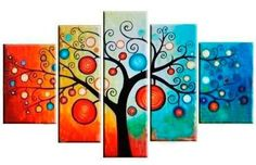 5 Pics Golden Tree Abstract Modern Art Hand Painted Oil Painting on Canvas Wall Art Deco Home Decoration (Unstretch No Frame) 5 Piece Canvas Art, Large Canvas Art, Large Art, Canvas Wall Art, Framed Canvas, Tree Of Life Painting, Hand Painting Art, Oil Painting On Canvas, Painting Abstract