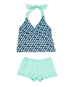 Blue White Black & Teal Surfside Classic String Bikini 2pc Set Nwt Reliable Performance Small
