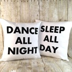 Flocked Velvet Dance All Night, Sleep All Day pillow set with inserts | Afterglow General Store
