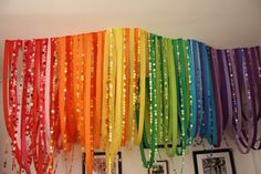 Rainbow colored crepe paper streamers combined with dot garland very dramatic image from The High Heeled Hostess