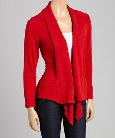 Look what I found on #zulily! Red Tie-Front Cardigan #zulilyfinds