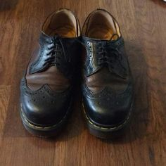 7f6e54853a7 Vintage 3989 black brown brogue doc martens. Some creasing I - Depop Brown  Brogues