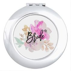 Bride Floral Compact Mirror Gift - bridesmaid gifts bridal bride wedding marriage