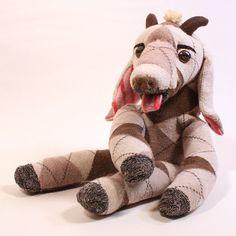 Argyle Goat Sock Animal  Soft Sculpture Stuffed by JeannesTeaRoom, $64.95