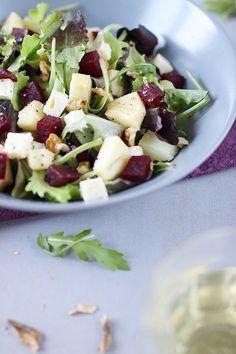Salade de betterave sucrée/salée (pomme, pomme de terre, Petit Pont-l'Evêque)
