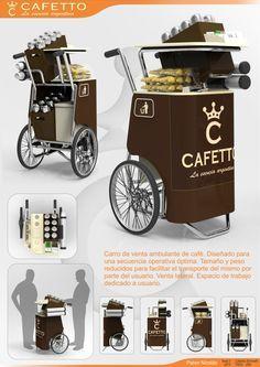 Cafetto - Puesto de Venta Ambulante de Café by Nicolás Pahor at Coroflot.com Food Cart Design, Food Truck Design, Mobile Cafe, Mobile Shop, Coffee Carts, Coffee Truck, Mobile Coffee Shop, Bike Food, Ice Cream Cart