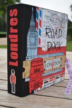 """Un petit road book pour ma fille Léa qui part demain à Londres Road Book réalisé avec les papiers, stickers, rubans, et embellissements """"Toga envie de voyage"""" . Classeur """" Késiart"""" Une gamme toute prête, super branchée qui correspondait très bien à mon..."""