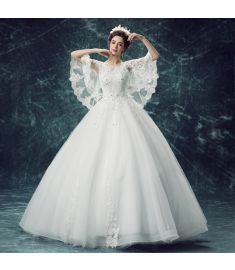 Lace cotton Wedding dress (White-xS) YTFF1496