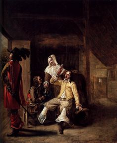 The Athenaeum - Two Soldiers and a Serving Woman with a Trumpeter (Pieter de Hooch - )