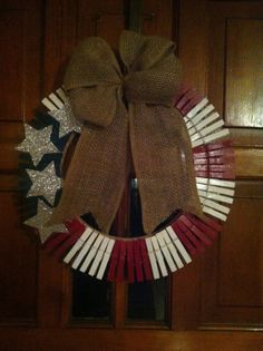 15 Clothespin Patriotic Wreath by OKSassDesigns on Etsy, $25.00  My Etsy shop! go check out what we've got!
