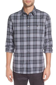 Trim Fit Plaid Sport Shirt