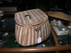 1930's split Willow French Weave Fishing Creel at Black Bass Antiques in Lake George, New York