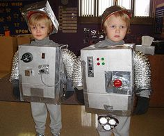 Crafty mama: Jennifer from Minneapolis, Minnesota, mom to twins Charlie and Henry Time to make: An afternoon Stuff you have: Cardboard box, various electrical items from the junk drawer, foil, glue, duct tape Stuff you need: Dryer venting, silver paint, gray turtleneck, gray sweatpants, gray shoes, gray gloves, construction worker hat How to make it: Cut head and arm holes in a cardboard box. Paint the box silver and glue or duct-ta