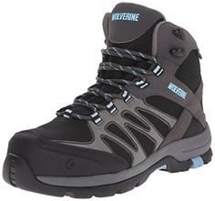 Wolverine Women's Fletcher Mid Work Boot, Black/Blue, 7.5 M US >>> Read more  at the image link.