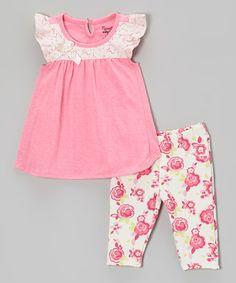 Look at this #zulilyfind! Pink Angel-Sleeve Top & Rose Pants - Toddler & Girls #zulilyfinds