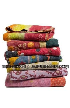 5pc wholesale set of  Vintage Kantha Throws Queen Quilted kantha bedspread Blanket