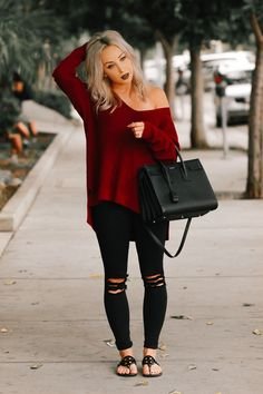 Blondie in the City   Burgundy Off The Shoulder Sweater   Black Saint Laurent Bag Fall Outfits 2018, City Outfits, Fall Fashion Outfits, Mode Outfits, Fall Fashion Trends, Fall Winter Outfits, Sweater Fashion, Spring Outfits, Autumn Winter Fashion