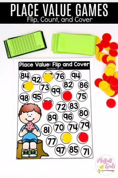 Flip and Cover: This fun Grade Math activity helps students understand place values and the meaning of a number in a hands-on way! schule First Grade: Place Value 2nd Grade Math Games, 1st Grade Centers, Math Centers, Primary Maths Games, Math Activities, Ks1 Maths, Maths Resources, Place Value Games, Place Value Activities