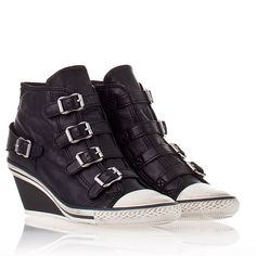 Ash  Genial Wedge Sneaker Black Leather 330147