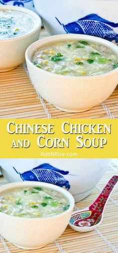 Shredded chicken meat, crunchy corn kernels, and chicken broth make up this easy Chinese Chicken and Corn Soup. A must try when fresh corn is in season. Healthy Soup Recipes, Easy Chicken Recipes, Asian Recipes, Asian Foods, Rice Recipes, Easy Recipes, Chinese Chicken Corn Soup, Best Comfort Food, Comfort Foods